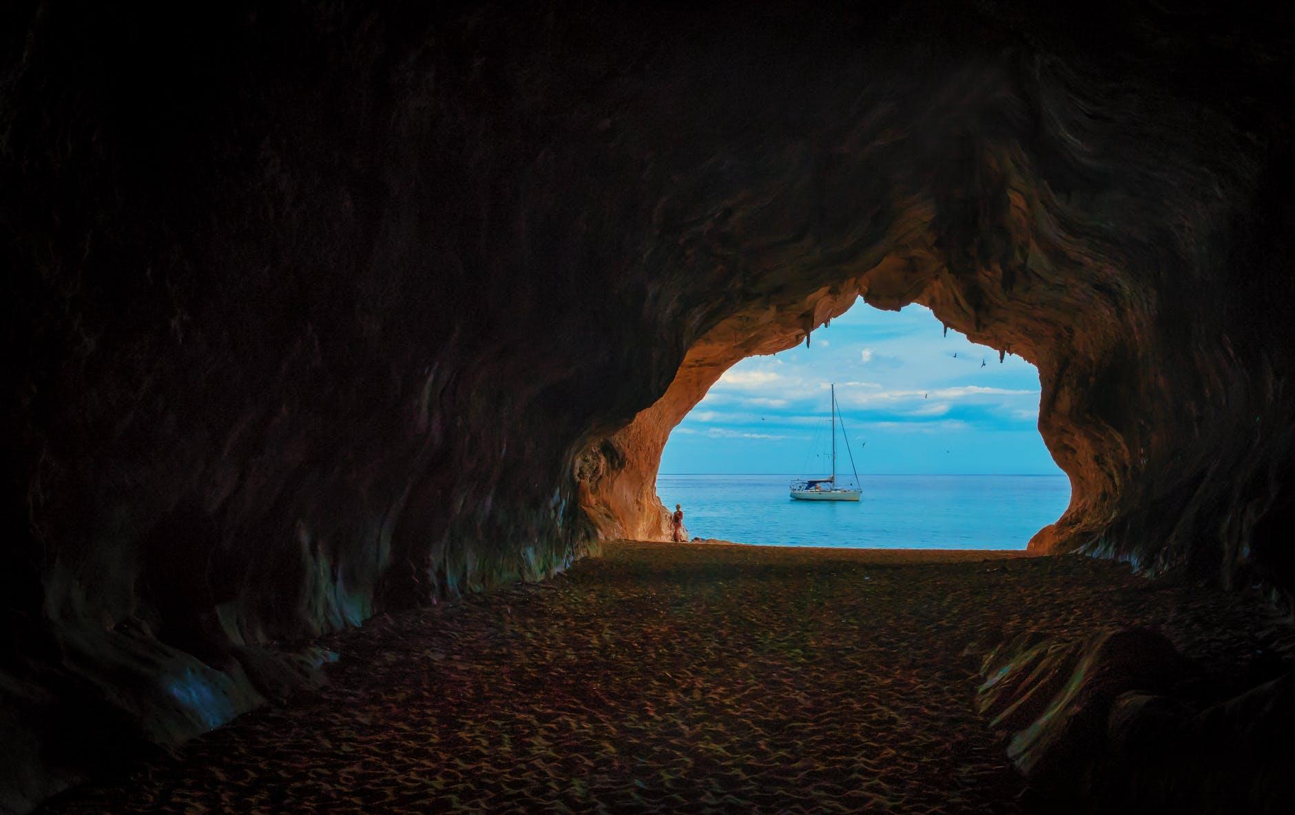 background beach blue cave